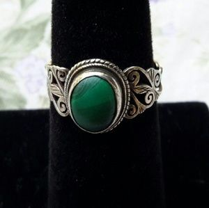 Green Malachite Sterling Silver Ornate Band Ring